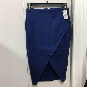 Express Navy Blue High-Slit Pencil Skirt